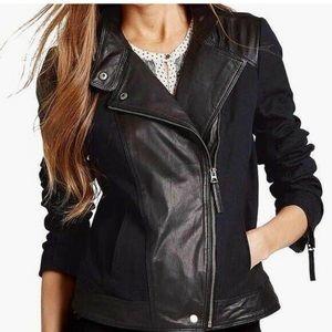 Lucky Brand Goat Leather Trim Moto Jacket